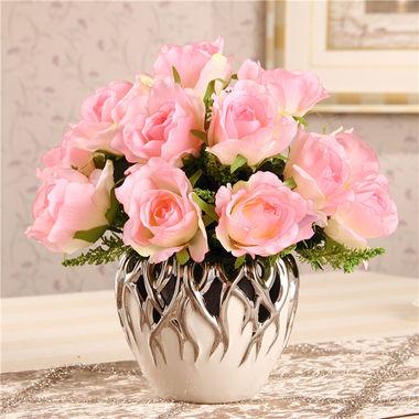 陶瓷花瓶摆件,花瓶带花一套,惊艳之质