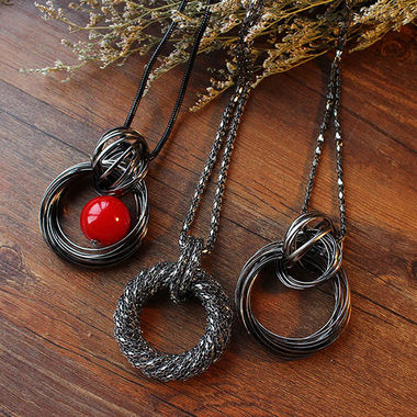 圆环装饰毛衣链项链长款,简单时尚