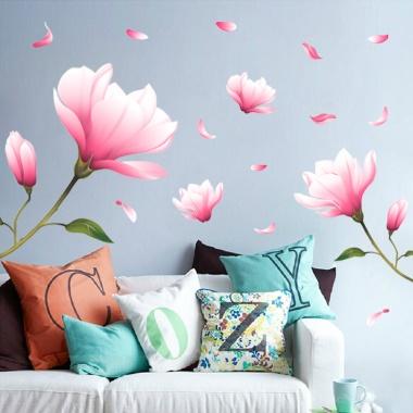 买四件减一件,60*90cm,环保可移除墙贴,温馨浪漫望春花墙贴纸,卧室客厅装饰