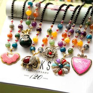 韩国复古项链,民族风长款宝石毛衣链