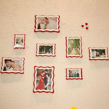 亚克力4框相框墙照片墙,送立体墙贴