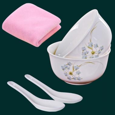 清新素雅的花色,中韩式碗,2碗2勺