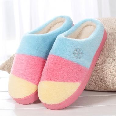 经典撞色设计,舒适包跟,保暖棉拖鞋
