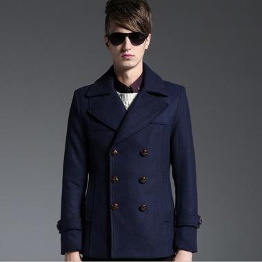 男士短款双排扣加厚羊毛呢大衣,深色略有浮色、轻柔洗涤