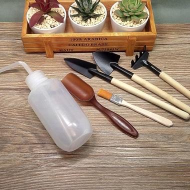 迷你三件套+毛刷+浇水壶+铲勺,赠品:小蘑菇装饰品,多肉种植好帮手