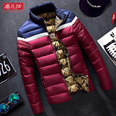 男士冬季休闲棉服,修身款,深色略有浮色浮毛