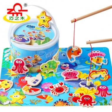 【1-5岁】巧之木桶装磁性木质钓鱼,有益智力