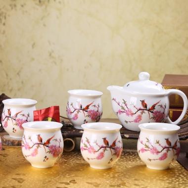 高质量景德镇,7头茶具,双层防烫